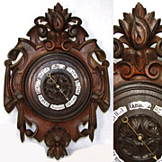 "Large Antique Victorian Era Black Forest Carved Oak 19.5"" Wall Barometer, Enamel Plaques"