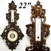 "SALE Fabulous Antique Black Forest Carved 22.5"" Wall Barometer, Hunting Dog & Pierced Foliage"