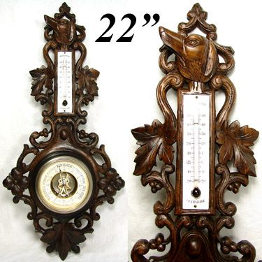 "Fabulous Antique Black Forest Carved 22.5"" Wall Barometer, Hunting Dog & Pierced Foliage"