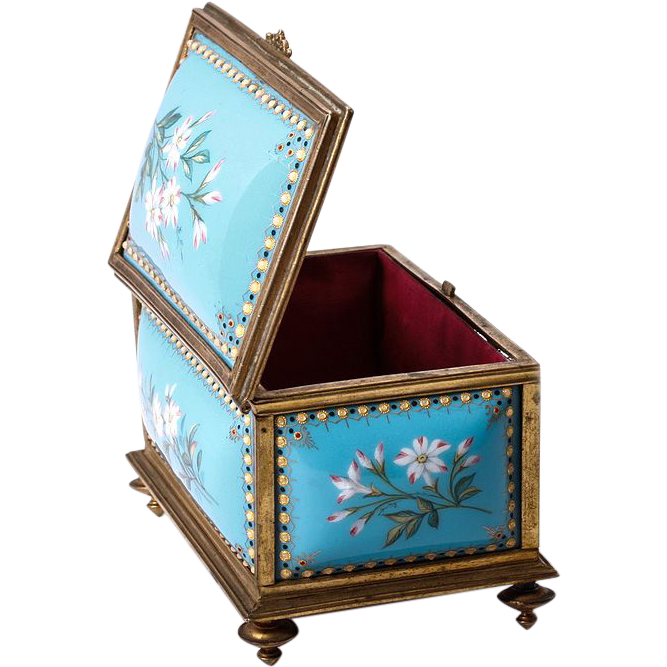 Fine Antique French 19th C. Kiln-fired Enamel Jewelry Casket, TAHAN, Sevres