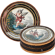 Antique French Eglomise Bonboniere, Chocolates or Pastille Box, Snuff with Cupid