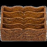 Antique Black Forest Hand Carved Wooden Stationery Caddy, Oak Leaf & Acorn