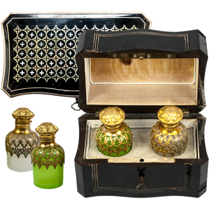 Superb Antique  French Scent Casket, Caddy, 2 Opaline Perfume, Cologne Bottle, Napoleon III