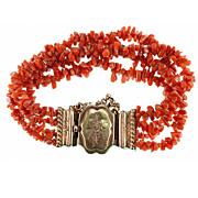 Antique Victorian Era Red Coral Bracelet, 4 Strands & Clasp w French Silver Marks, 18k Vermeil