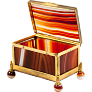 Superb Antique Banded Agate & Ormolu Jewelry or Trinket, Ring Box.
