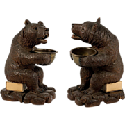 "Superb 7"" Tall Sitting Antique Black Forest Bear Match Stand, Striker"