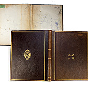 Antique French Desk Blotter, Folio, Fine Gold Embossed Leather, c.1800s