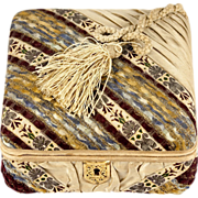 Fine Silk Covered Antique French Confectioner's Chocolate Box, Casket, Rebattet, St. Honore, PARIS