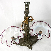 "Antique French Art Nouveau Figural Epergne, 3 Glass Bowl, Flutes and 22"" Tall"