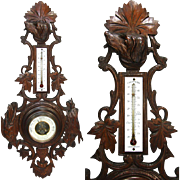 "Antique Black Forest Carved 25.75"" Wall Barometer, Boar, Game Bird & Hunting Dog"