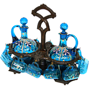 "Antique Victorian Black Forest Carved 10"" Liqueur Tantalus, Caddy, 14pc Bohemian Enameled Blue Glassware"