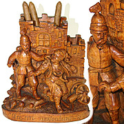 "Antique Victorian Era Black Forest Carved Smoker's Stand, Police Gendarme & Thief, ""Weisenburg - 1870"""