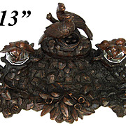"Large Antique Black Forest Carved 13"" Double Inkwell or Inkstand, Crystal Wells & Pheasant, Nest with Eggs Top Stamps Box"