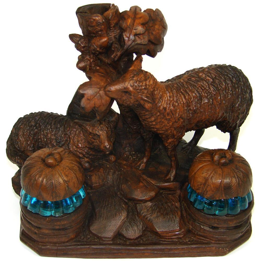RARE Antique Black Forest Double Inkwell, Inkstand: 2 Sheep Figures, Blue Wells