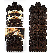 Antique Hand Carved Black Forest Plaque for Daily Calling Cards, Appointments, Mail, 7 Slots