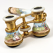 Superb 19th c. French Kiln-fired Enamel Opera Glasses, Binoculars, Lorgnette handle, Colmont, PARIS