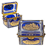 Superb Antique Bohemian Glass Sugar Casket, Moser Box, 5 Engraved Grand Tour Souvenir Views