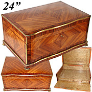"HUGE c.1850 Antique French Kingwood Marquetry Chest, Box, 24"" x 17"" Cashmere or Trousseau"