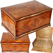 """HUGE c.1850 Antique French Kingwood Marquetry Chest, Box, 24"""" x 17"""" Cashmere or Trousseau"""