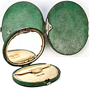 Antique French Purse, late 1700s Shagreen with Silk Coin Purse Inside, Mirror