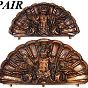 RARE Antique Victorian Era Carved Oak Cornice or 'Fonton' PAIR, Majestic Grotesque Figures on Seashell Backings