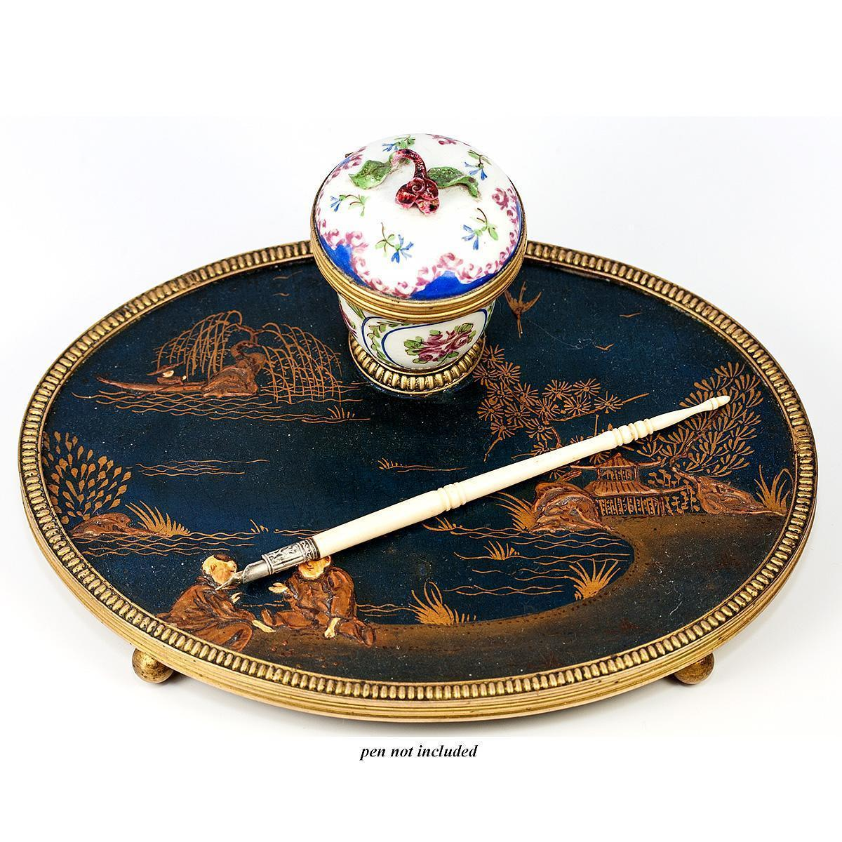 Antique French Napoleon III Era Chinoiserie Inkwell, Papier Mache Stand, Old Paris Porcelain