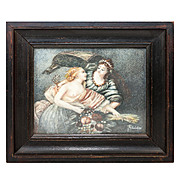 Antique Miniature Painting in Original Frame, Bare Breast Demeter, Goddess of Harvest, w Rhea