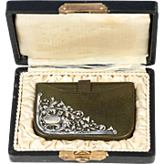 Antique Leather Purse, Wallet, French Sterling Silver Adorned, in Orig.Box. Lion, Thistle
