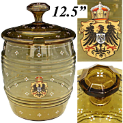 "Rare Antique Bohemian or German Amber Glass 12.5"" Punch Bowl or Beer Barrel, German Empire Coat of Arms in Enamel"
