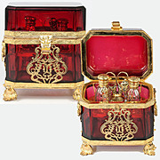 Antique French Cranberry Opaline Glass Casket, Sewing and Perfume Etui, Ormolu