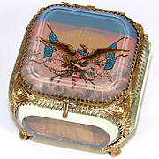 "Antique French Made Souvenir Box, Eglomise Jewelry Casket for America: Eagle & American Flags, ""E Pluribus Unum"""