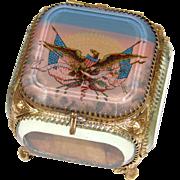 "Antique French Made Souvenir Box, Eglomise Jewelry Casket for America: Eagle & American Flags, ""E Pluribus Unum"""
