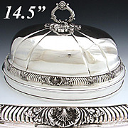 Large Antique English Silver Plate Meat Dome, Bell: Ornate Seashell Accented Band & Finial/Handle