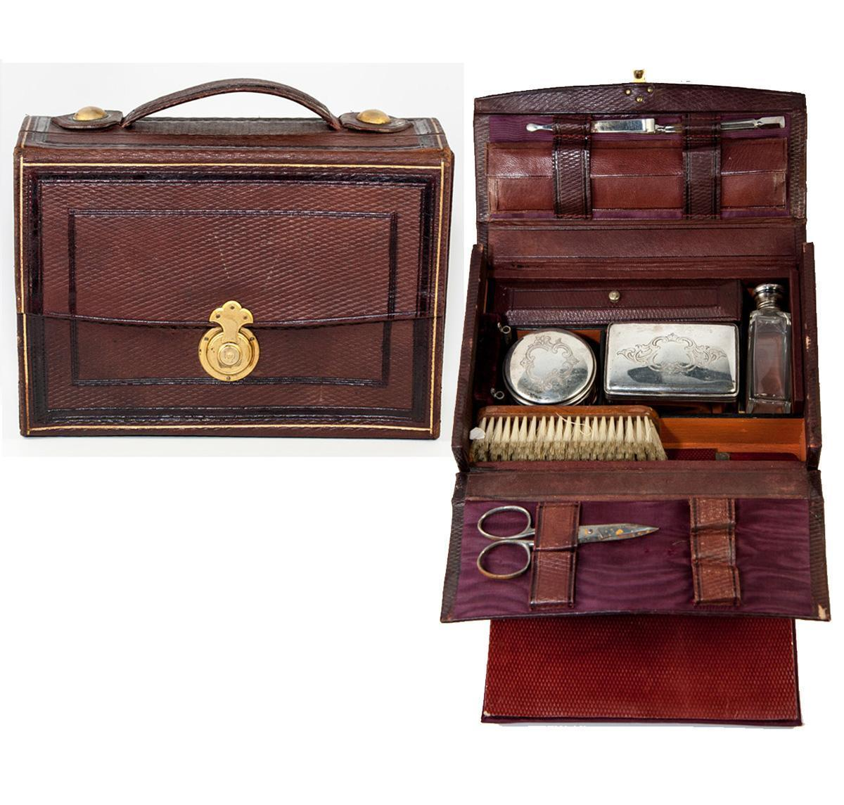 Antique French Grand Tour Travel Valet, Vanity Items in Leather Valise, Case, or Etui