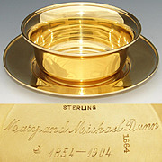 Antique Vermeil 14-18k Gold on Sterling Silver Bowl & Plate Caviar Serving Set, 50th Wedding Anniversary Gift