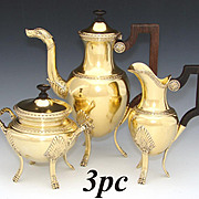 Antique Belgian Vermeil 18k Gold on Sterling Silver 3pc Solitaire or Bachelor's Sized Tea Set, Figural Tea Pot