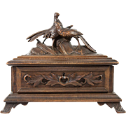 Antique Black Forest Carved Wood Jewelry Box, Casket with Pheasants, Birds