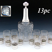 Rare Oversized Antique French Sterling Silver & Intaglio Etched 13pc Liqueur or Liquor Service, Decanter & 12 Cups