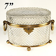 RARE Antique French c.1830s Unsigned Baccarat Diamond Cut Crystal Sugar Casket, BIG 7""