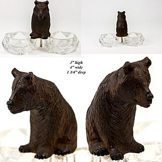 Antique Hand Carved Black Forest Bear Cub, Double Open Salt Cellar