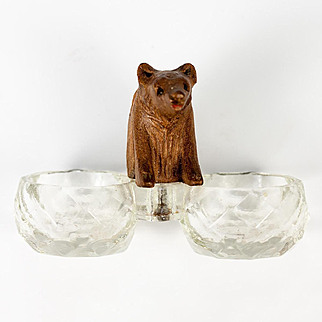 Cute Antique Black Forest Carved Wood Bear Cub is a Double Open Salt for Table