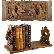 Antique Black Forest Carved Wood Folding & Expanding Bookrack, Book Stand, Birds