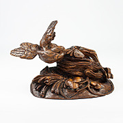 Exceptionally Carved Antique Black Forest Bird in Flight, Nest, Butterfly, c. 1850s
