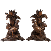 "Fun Pair Antique Black Forest Hand Carved 9.75"" Tall Candle Stands, Roosters - Make into Lamps?"