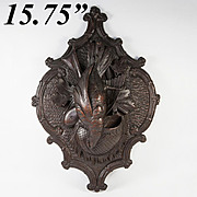 """Fine Antique Hand Carved Black Forest """"Fruits of the Hunt"""" 15.75"""" Wall Plaque, Match or Spill Holder"""