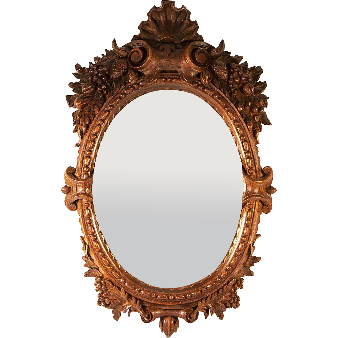 Superb Antique Hand Carved French Or Black Forest Mirror