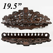 "Antique Hand Carved Black Forest 19.5"" Long Pipe Rack, Great for Kitchen Tools, Too"