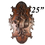 """Antique Hand Carved Black Forest Stag & Fowl Head Wall Plaque, Fruits of the Hunt, 25"""""""