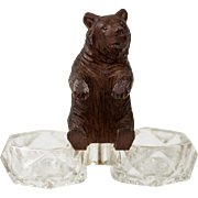 Antique Black Forest Hand Carved Wood Bear, a Double Open Salt, Darling!