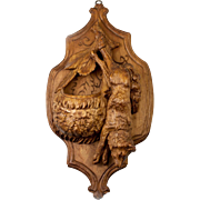"Antique Hand Carved Black Forest Fruits of the Hunt Plaque, A 9"" Fox or Wolf Match Holder"